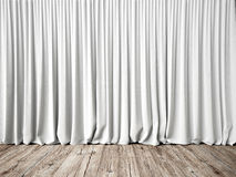White curtains and wood floor Stock Photos