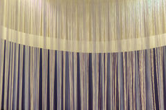 White curtains yarn against the round white lamp for lobby and l Stock Photo