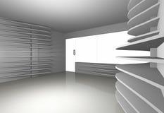 White Curve Shelfs In Empty Interior Stock Photos