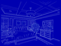 White Custom Bedroom Design Drawing Blueprints Royalty Free Stock Images