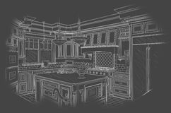 White Custom Kitchen Design Drawing on Grey stock illustration