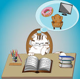 White Cute Cat Studying and Dreaming Royalty Free Stock Images