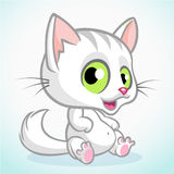 White cute kitty with green eyes sitting. Vector cartoon cat Stock Photo