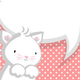White cute little kitty baby comic bubble Royalty Free Stock Photography