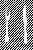 White cutlery. And background diagonal lines Royalty Free Stock Images