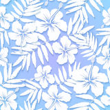 White cutout paper flowers on blue background Stock Photography