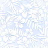 White cutout paper flowers seamless pattern Stock Photo