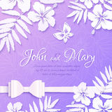 White cutout paper tropical flowers on purple Royalty Free Stock Photos