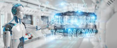 White cyborg using future decision text interface 3D rendering. White cyborg on blurred background using future decision text interface 3D rendering stock illustration