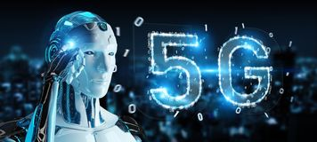 White cyborg using 5G network digital hologram 3D rendering. White cyborg on blurred background using 5G network digital hologram 3D rendering Royalty Free Stock Photos