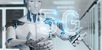 White cyborg using 5G network digital hologram 3D rendering. White cyborg on blurred background using 5G network digital hologram 3D rendering Stock Illustration