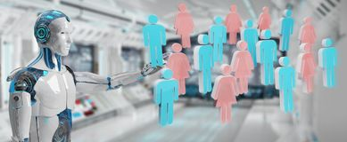 White cyborg controlling group of people 3D rendering Royalty Free Stock Photography