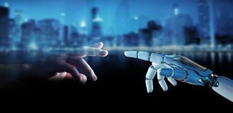 White cyborg finger about to touch human finger 3D rendering. White cyborg finger about to touch human finger on city background 3D rendering Royalty Free Stock Photos