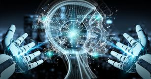 White cyborg hand creating artificial intelligence 3D rendering. White cyborg hand on blurred background creating artificial intelligence 3D rendering Royalty Free Stock Photography