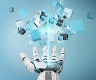 White cyborg hand using blue digital cube structure 3D rendering. White cyborg hand on blurred background using blue digital cube structure 3D rendering Royalty Free Stock Image