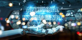 White cyborg hand using digital artificial intelligence text hol. White cyborg hand on blurred background using digital artificial intelligence text hologram 3D vector illustration