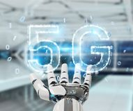 White cyborg hand using 5G network digital hologram 3D rendering. White cyborg hand on blurred background using 5G network digital hologram 3D rendering Royalty Free Stock Images