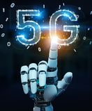 White cyborg hand using 5G network digital hologram 3D rendering. White cyborg hand on blurred background using 5G network digital hologram 3D rendering Stock Photos