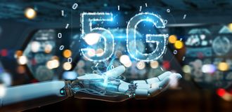 White cyborg hand using 5G network digital hologram 3D rendering. White cyborg hand on blurred background using 5G network digital hologram 3D rendering Royalty Free Stock Photos