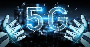 White cyborg hand using 5G network digital hologram 3D rendering. White cyborg hand on blurred background using 5G network digital hologram 3D rendering Royalty Free Illustration