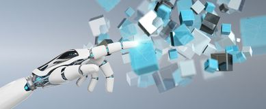 White cyborg hand using blue digital cube structure 3D rendering. White cyborg hand on blurred background using blue digital cube structure 3D rendering Royalty Free Stock Images