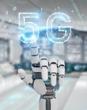 White cyborg hand using 5G network digital hologram 3D rendering. White cyborg hand on blurred background using 5G network digital hologram 3D rendering stock illustration