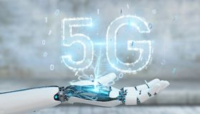 White cyborg hand using 5G network digital hologram 3D rendering. White cyborg hand on blurred background using 5G network digital hologram 3D rendering royalty free illustration