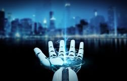 White cyborg opening his hand 3D rendering. White cyborg opening his hand isolated on city background 3D rendering Royalty Free Stock Photo