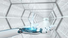 White cyborg opening his hand 3D rendering. White cyborg opening his hand on spaceship background 3D rendering Royalty Free Stock Images