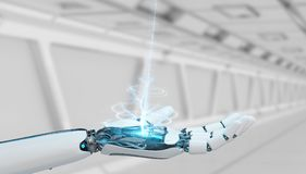 White cyborg opening his hand 3D rendering. White cyborg opening his hand on spaceship background 3D rendering Stock Photography