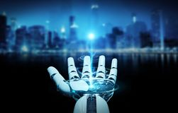 White cyborg opening his hand 3D rendering. White cyborg opening his hand isolated on city background 3D rendering Royalty Free Stock Images