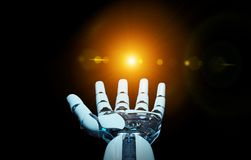 White cyborg opening his hand 3D rendering. White cyborg opening his hand isolated on dark background 3D rendering Stock Images