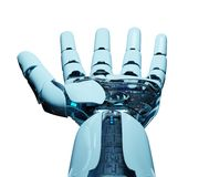 White cyborg opening his hand 3D rendering. White cyborg opening his hand isolated on white background 3D rendering Royalty Free Stock Photography