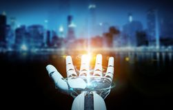 White cyborg opening his hand 3D rendering. White cyborg opening his hand isolated on city background 3D rendering Stock Images