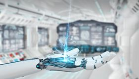 White cyborg opening his hand 3D rendering. White cyborg opening his hand on spaceship background 3D rendering Royalty Free Stock Photography