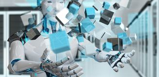 White cyborg using blue digital cube structure 3D rendering. White cyborg on blurred background using blue digital cube structure 3D rendering Royalty Free Stock Image