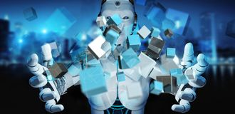 White cyborg using blue digital cube structure 3D rendering. White cyborg on blurred background using blue digital cube structure 3D rendering Stock Image