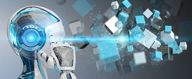 White cyborg using blue digital cube structure 3D rendering. White cyborg on blurred background using blue digital cube structure 3D rendering Royalty Free Stock Photo