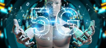 White cyborg using 5G network digital hologram 3D rendering. White cyborg on blurred background using 5G network digital hologram 3D rendering Stock Images