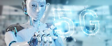 White cyborg woman using 5G network digital hologram 3D renderin. White cyborg woman on blurred background using 5G network digital hologram 3D rendering Royalty Free Stock Images