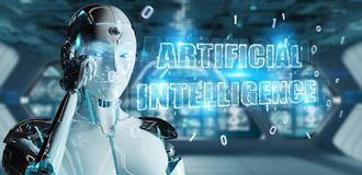 White cyborg woman using digital artificial intelligence text ho. White cyborg woman on blurred background using digital artificial intelligence text hologram 3D stock illustration
