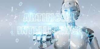 White cyborg woman using digital artificial intelligence text ho. White cyborg woman on blurred background using digital artificial intelligence text hologram 3D Stock Photography