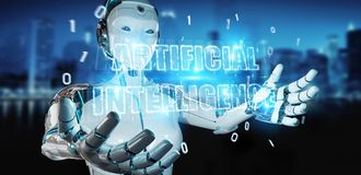 White cyborg woman using digital artificial intelligence text ho. White cyborg woman on blurred background using digital artificial intelligence text hologram 3D vector illustration