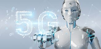 White cyborg woman using 5G network digital hologram 3D renderin. White cyborg woman on blurred background using 5G network digital hologram 3D rendering Royalty Free Stock Photo