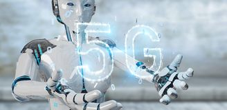 White cyborg woman using 5G network digital hologram 3D renderin. White cyborg woman on blurred background using 5G network digital hologram 3D rendering Royalty Free Stock Image