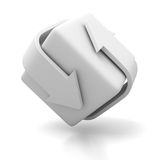 White Cycled Arrows With Block Cube. 3d Render Illustration Stock Images