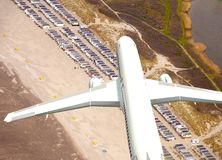 White 3D aircraft flying above beach. White 3D aircraft flying above Dutch beach Royalty Free Stock Photography