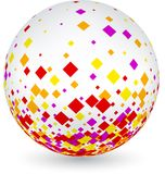 White ball with colorful rhombs. White 3d ball with colorful rhombs pattern. Vector paper illustration Royalty Free Stock Photos