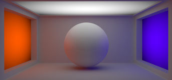 White 3d ball. In the colorfull studio room Stock Photo