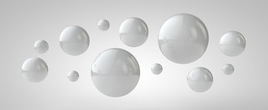 White 3d balls background, 3d illustration.  Stock Photos